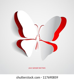 Greeting card with paper butterfly - vector