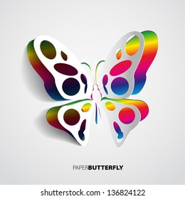 Greeting card with paper rainbow butterfly - vector