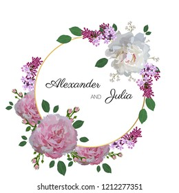 Greeting card with peony flowers and lilac. Wedding ornament concept. Frame, invitation design for holidays