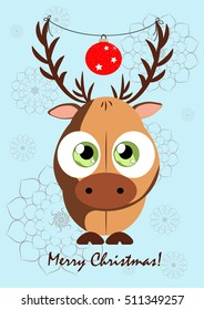 Greeting card with a picture of a deer, holding the horns of glass Christmas balls. Can be used as a game character or illustration for the book, image on t-shirt, mug, and other