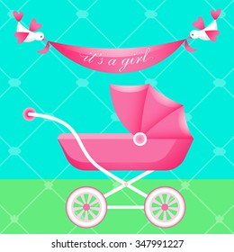 Greeting card with pink carriage. Vector illustration