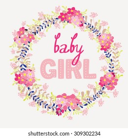 Greeting card with pink flowers and text Baby girl