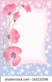 greeting card with pink poppies