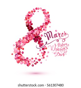 Greeting card with pink rose petals. 8 march - happy women's day!