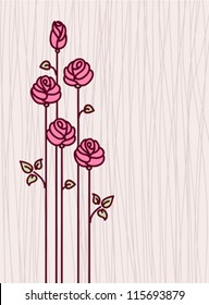 Greeting Card with Pink  Stylized Roses. Vector Illustration