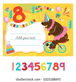 Greeting card with place for text. An invitation to a party in honor of his birthday. Circus show, a happy holiday.