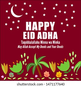 """Greeting Card or Poster for Ied Adha on Month of Dhulhijjah, Taqabbalallahu Minna wa Minka which means """"May Allah Accept My Deeds and Your Deeds"""""""