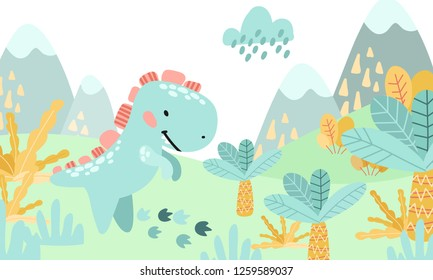 Greeting card. Prehistoric period. Cartoon Scandinavian vector illustration. For children's parties. Cute childish landscape in the afternoon with dinosaurs, mountains, palm, plants, flowers.