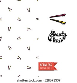 Greeting card for promotion beauty salon. Seamless pattern with hair dressing tools on one side. On another inscription: beauty hair. Vector template.