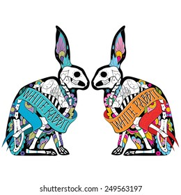 Greeting card with rabbits, skeletons with floral patterns. Colorful rabbits. Vector illustration