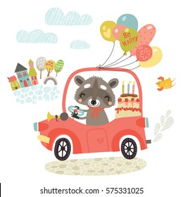 Greeting card. Raccoon in a car with a cake and gifts.