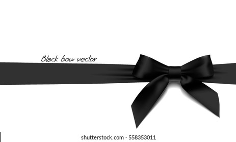 greeting card with realistic black bow on White background