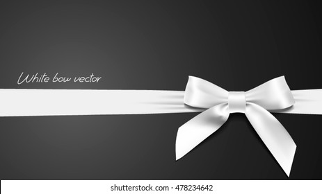 greeting card with realistic White bow on a black background