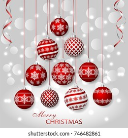 Greeting card with red Christmas balls. Holiday decorations on silver bokeh background. Vector illustration