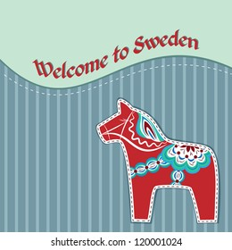 Greeting card with red dala horse - national symbol of Sweden
