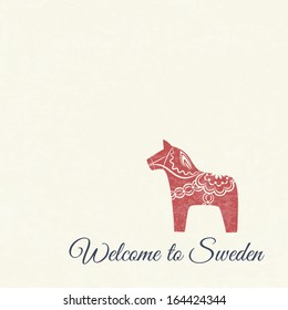 Greeting card with red dala horse - national symbol of Sweden from Dalarna