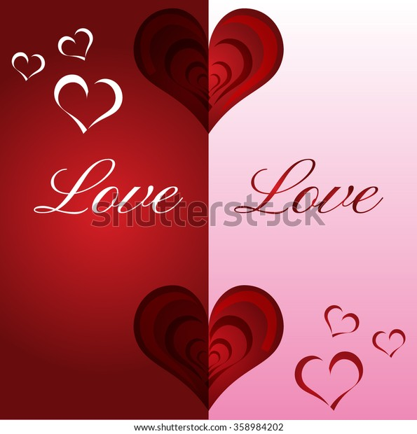 Greeting card red heart, valentines day background, valentine, holiday design. Vector illustration