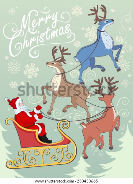 Greeting card with reindeer's and Santa on sleigh