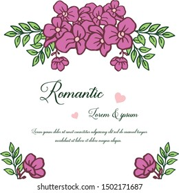 Greeting card romantic, with element for design purple flower frame. Vector