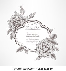 Greeting card with roses, can be used as invitation card for wedding, birthday and other holiday and  summer background. Botanical art. Engraving style. Vector illustration art