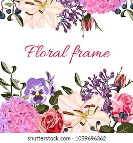 Greeting card with roses, lilies, lilac, viola, hydrangea, watercolor style, can be used as invitation card for wedding, birthday and other holiday and summer background. Your simple text.