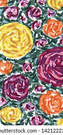Greeting card with roses painted in abstract