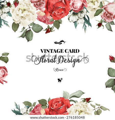 Greeting Card With Roses Watercolor Can Be Used As Invitation For Wedding Birthday And Other Holiday Summer Background Vector Illustration