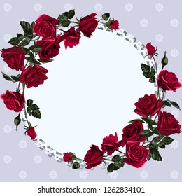 Greeting card with round frame and flowers. Red rose blossom.