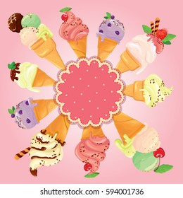 Greeting card with round frame and ice cream cones on pink background. Holiday, summer season or Happy Birthday design.