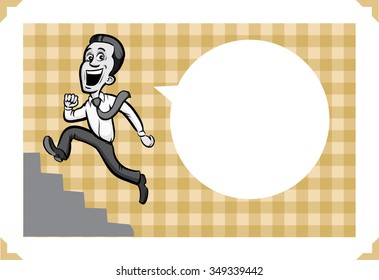 Greeting card with running businessman - add your custom text