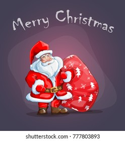 greeting card with Santa Claus in red coat with bag of gifts on sirenevom background