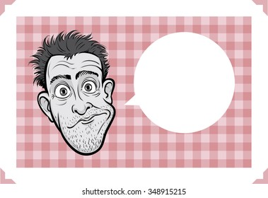 Greeting card with sceptic man face - just add your text