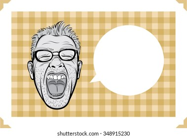 Greeting card with screaming man face - just add your text