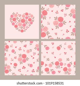 Greeting card and seamless patterns with roses for textile, wallpapers, gift wrap and scrapbook. Card with heart of the pink flowers for March 8, Valentine's Day, birthday, wedding invitations. Vector