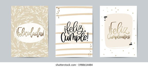 Greeting card set with Feliz Cumpleaños and Feliz Cumple, both means Happy Birthday, and Felicidades, which translate Congratulations, calligraphy sign in Spanish. Modern abstract vector design.