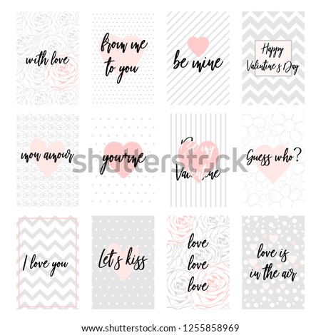 Greeting Card Set Grey Pink Color Stock Vector Royalty Free