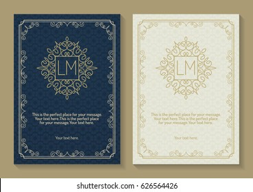 Greeting card set with monogram logo and frame line style gold color on vintage background for use banner of hotel label, spa service, business offer, wedding invitation etc. Vector Illustration
