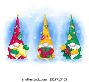 Greeting card set. Three funny gnomes in long hats with holly, gift, Christmas star. Watercolor winter background with snowflakes.