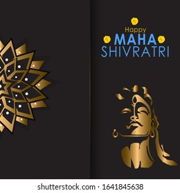 Greeting card for Shivratri, a Hindu festival celebrated of Shiva Lord. Golden Shiva