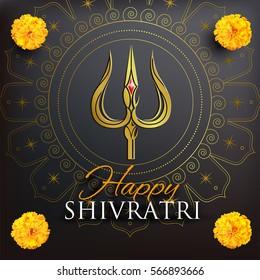 Greeting card for Shivratri, a Hindu festival celebrated of Shiva Lord. Golden trishula of Shiva on black background. Vector illustration.