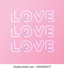 Greeting card with sign love on pink background for promotion, banner, party poster, t shirt, sex shop, valentine, decoration, stamp, label. Vector 10 eps