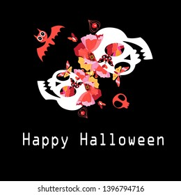Greeting card with skulls and flowers for Halloween on a dark background