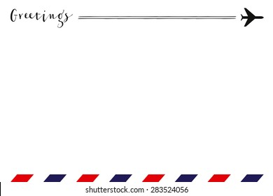 Greeting card with a small airplane on the right top and air mail pattern on the bottom. Vector and illustration design.