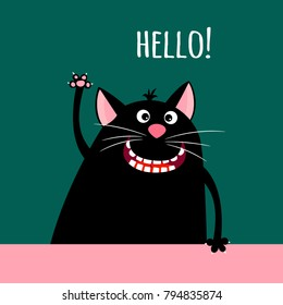 Greeting card with smiling cartoon cat and sign hello, vector illustration