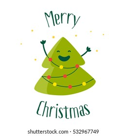 Greeting card with a smiling cartoon christmas tree and garland with lights. Flat design. Vector illustration.