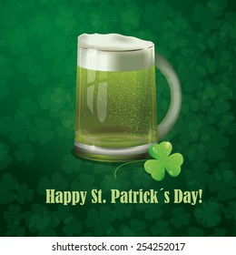 Greeting card with St. Patrick's Day with a glass of beer and shamrocks on a dark green background.