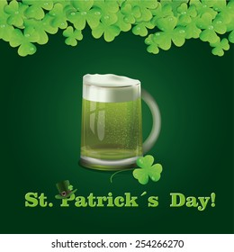 Greeting card with St. Patrick's Day with a glass of beer and a background of shamrocks.