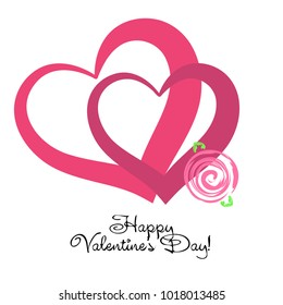 Greeting card with St. Valentine's Day. Flowers drawn roses. Abstract vector background.