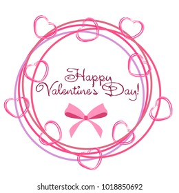 Greeting card with St. Valentine's Day. Hearts from the lines. Abstract vector background.