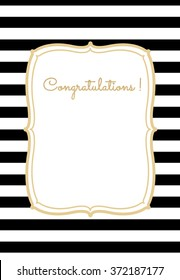 Greeting card . striped background with frame and golden glitter text . white and black. EPS 10
